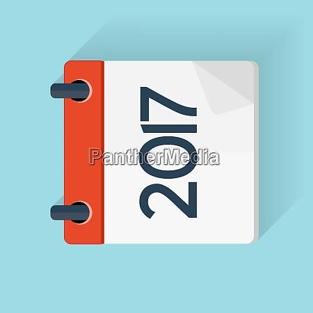 2017 nowy rok kalendarz plaski szablon