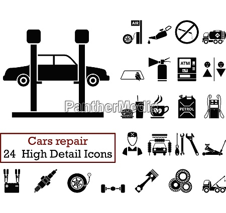 set of 24 car repair icons