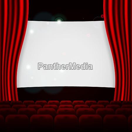 miejsce scena audytorium kino wiersz czerwony