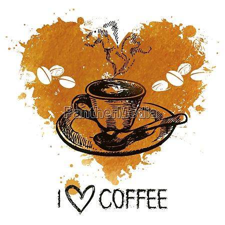recznie rysowane vintage tlo kawy z