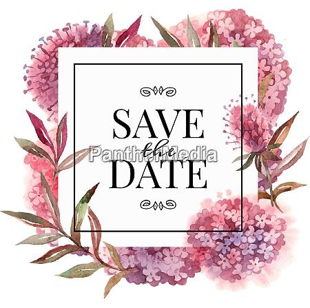 zaproszenie slubne z kwiatami akwarely ilustracja