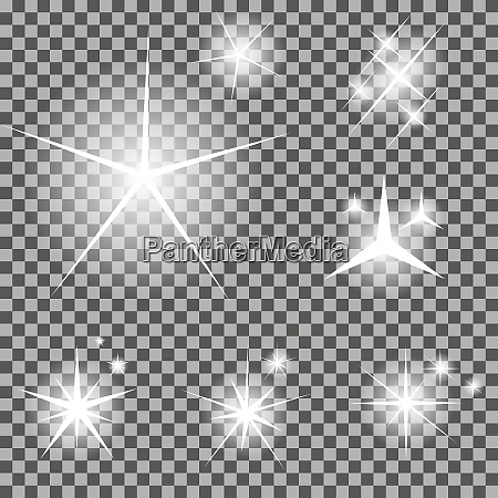 zestaw swiecacych gwiazd swietlnych z ilustratorem