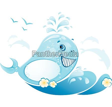 zabawny wieloryb jest wykonany z kropli