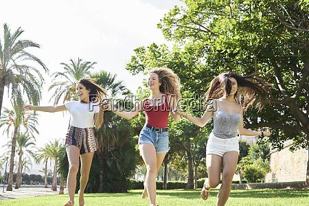 spain mallorca palma three happy young