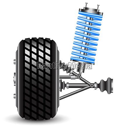 car suspension frontal view vector illustration