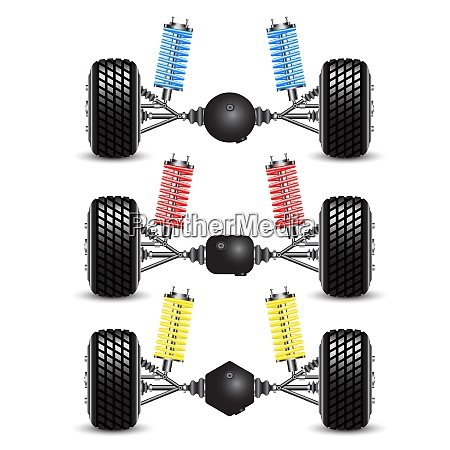 set rear suspension car with different