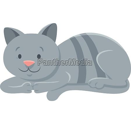 divertente gatto grigio animale cartoon personaggio