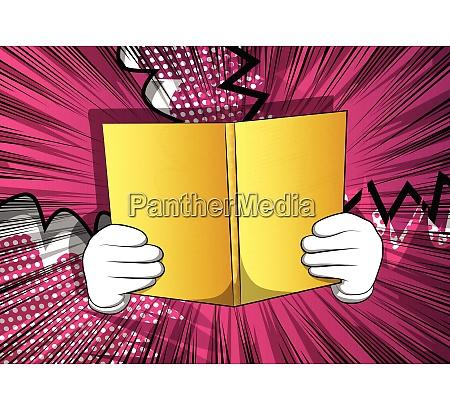 cartoon hand holding a book