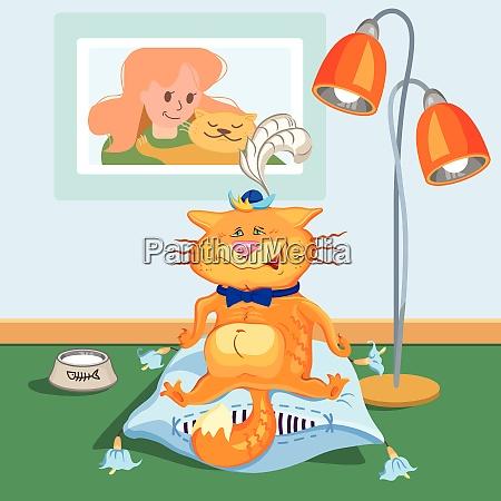 kot siedzi na poduszce malowane imitacja