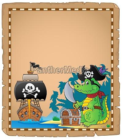 parchment with pirate crocodile on coast