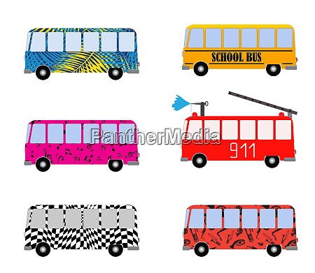 set of painted cartoon buses for