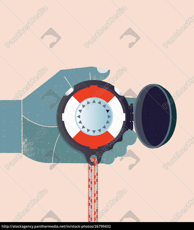 hand, holding, life, belt, compass - 26799432