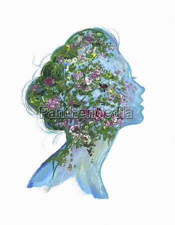 flowers inside of womans head