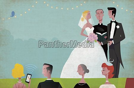 woman using phone during wedding ceremony