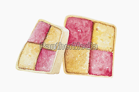 watercolour painting of slices of battenberg