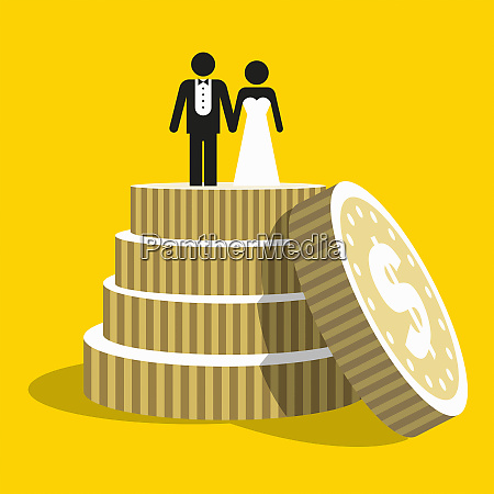 dollar coins as tiers of wedding