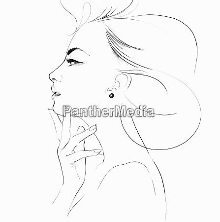 olowek szkic pieknej kobiety profil