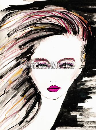 ilustracja mody powaznej mlodej kobiety