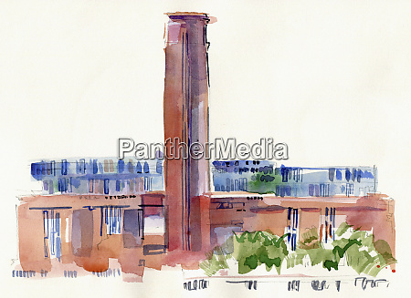 watercolour painting of tate modern london