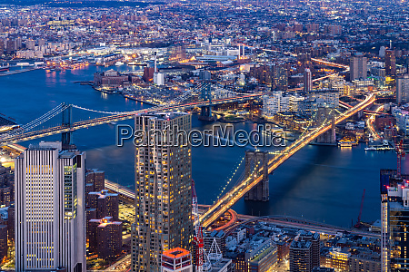 aerial brooklyn and manhattan bridge new