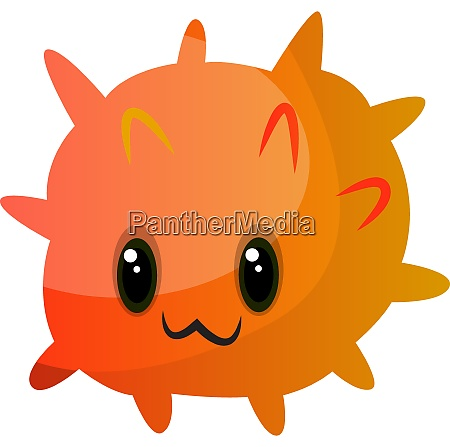 orange cute monster illustration vector on