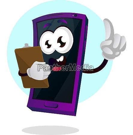 mobile emoji holding a notepad illustration
