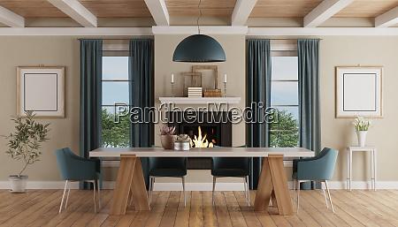 nowoczesny stol w klasycznym domowym wnetrzu