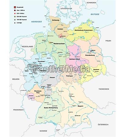 mapa niemiec ze wszystkimi miastami ponad