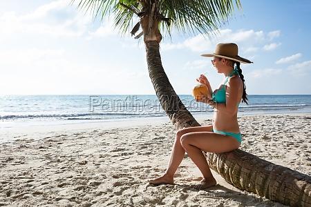 kobieta w bikini picia wody kokosowej
