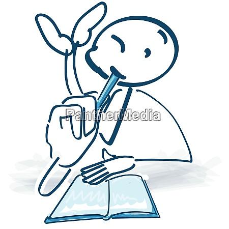 stick figura pisze w wielkim ksiazce