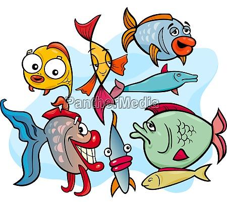 ryba zwierzat postaci z kreskowek grupa
