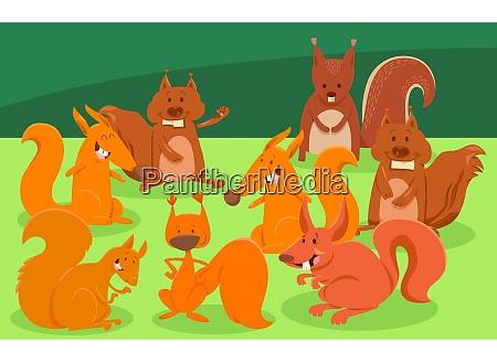 postacie grupa kreskowka wiewiorki zwierze