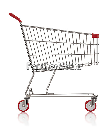 shopping cart side view 3d illustration