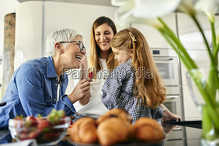 grandmother offering stawberry to granddaughter mother