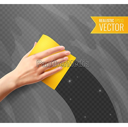 woman hand wiping dirty glass with