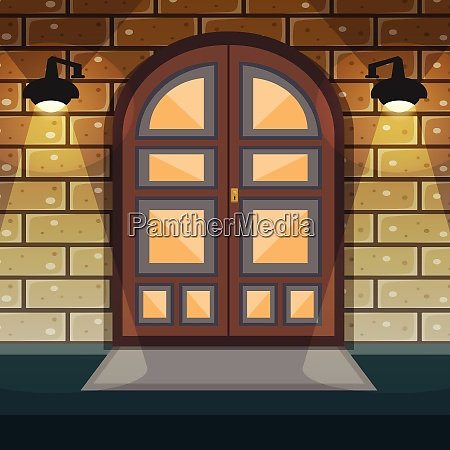 classic doorway brickwall house facade with