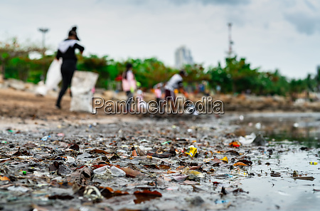 blurred, of, volunteers, collecting, garbage., beach - 27177013