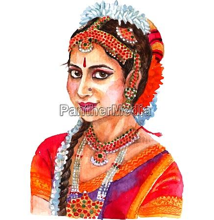 portret pieknej indyjskiej pani w tradycyjnych