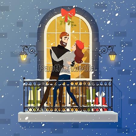 romantic christmas night fairy tale balcony