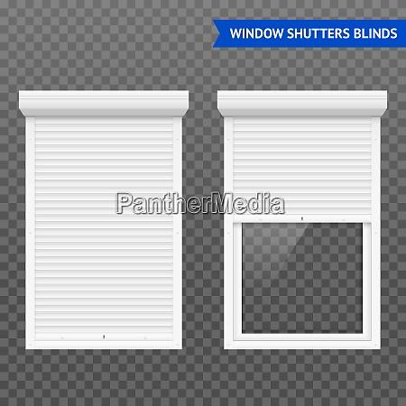 window roller shutters set in closed