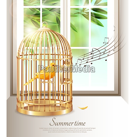 canary singing in golden birdcage with
