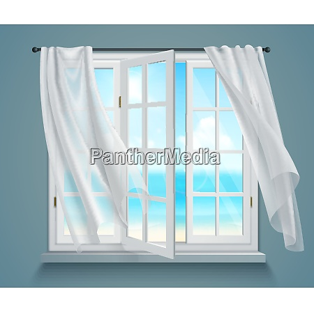 open window with billowing white curtains