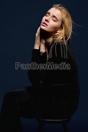 beautiful woman in black velvet costume