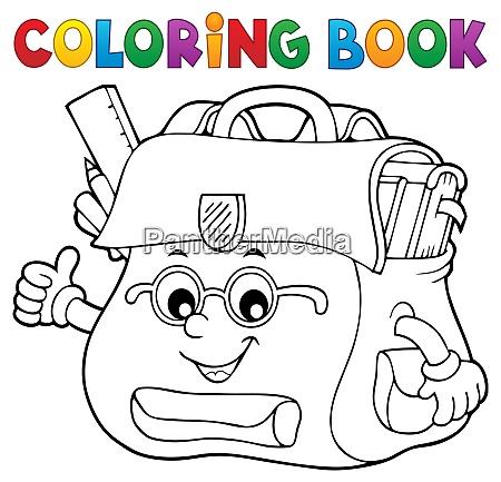 coloring book happy schoolbag topic 2