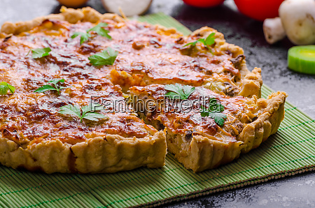 home french quiche stuffed with mushrooms