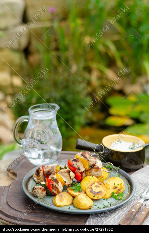 na, zewnątrz, grilla, szaszłyk, szisz, kebab - 27291752
