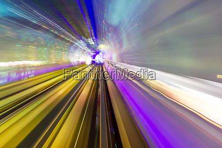 abstract light trails of underground railway