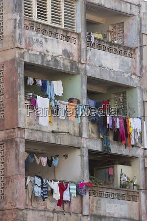 cuba trinidad apartment building with laundry