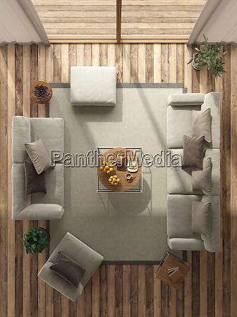 widok z gory na minimalistyczny salon