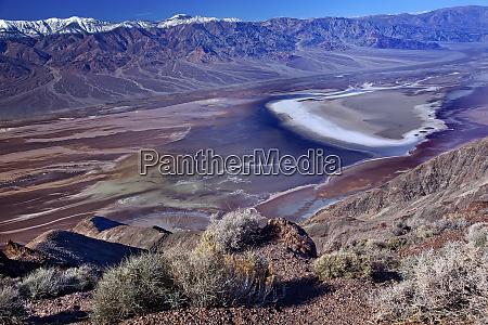 salt badwater basin panamint mountains from
